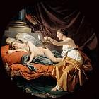 Пораженная Психея и спящий Амур